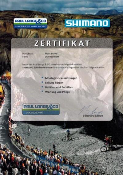 SHIMANO-Zertifikat